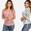 Women's 3/4-Sleeve Geometric-Print V-Neck Top