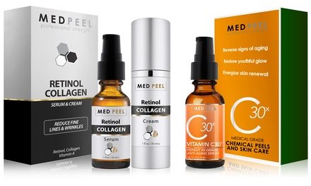 MedPeel Professional Strength Anti-Aging Kit with Retinol Collagen Serum, Retinol Collagen Cream, and Vitamin C30x Serum