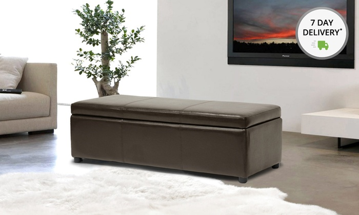 Baxton Studio Bonded Leather Storage Bench Ottoman: Baxton Studio Dark Brown or Black Bonded Leather Storage Bench Ottoman