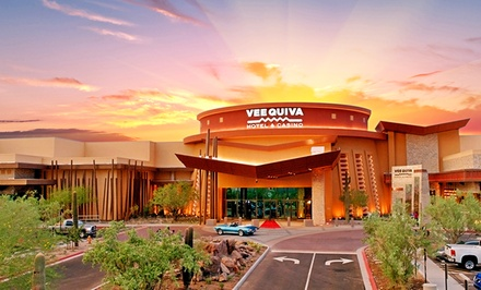groupon daily deal - 1-Night Stay for Two with Play Vouchers at Vee Quiva Hotel & Casino near Phoenix, AZ. Combine Up to 3 Nights.