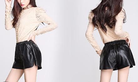 Shorts voor dames van imitatieleer