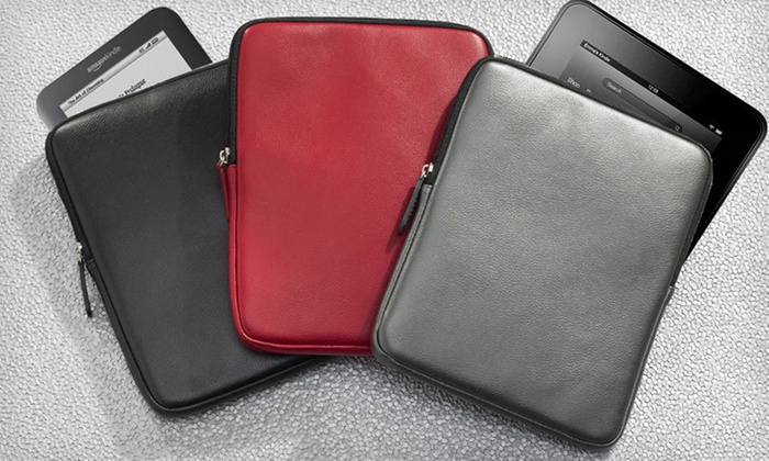 "Wilsons Leather 7"" Tablet Case: $11.99 for a Wilsons Leather 7"" Case for Kindle Fire, iPad Mini, and Nook HD in Black, Pewter, or Red ($50 List Price)"