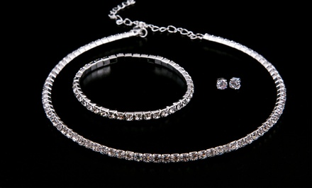 3-Piece Swarovski Elements Necklace, Bracelet, and Stud Set. Free Returns