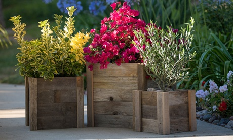 Reclaimed Wooden Patio Garden Planters (1- or 3-Pack) 9b525d98-5996-4e84-a0b0-709261180579