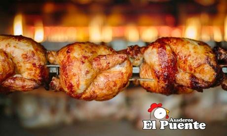 Menú con un pollo, papas, pan y bebida con opción a una ensalada y croquetas desde 7,95 € en Asadero El Puente