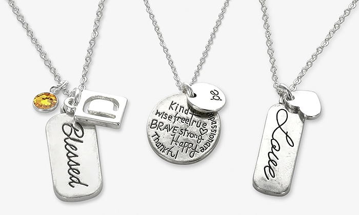 ShopOnlineDeals: Inspirational Pendant Necklace Personalized with One or Two Charms from ShopOnlineDeals (Up to 83% Off)