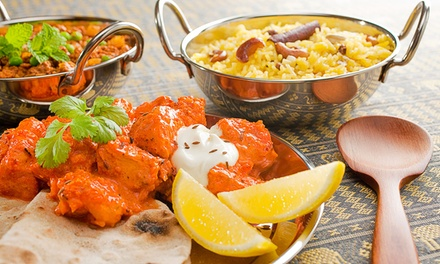 Menú hindú para 2 con aperitivo, entrantes, principal, arroz y bebida L-V o S-D desde 19,90 € en Happy Valley. 2 locales