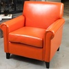Canton Burnt-Orange Bonded-Leather Club Chair
