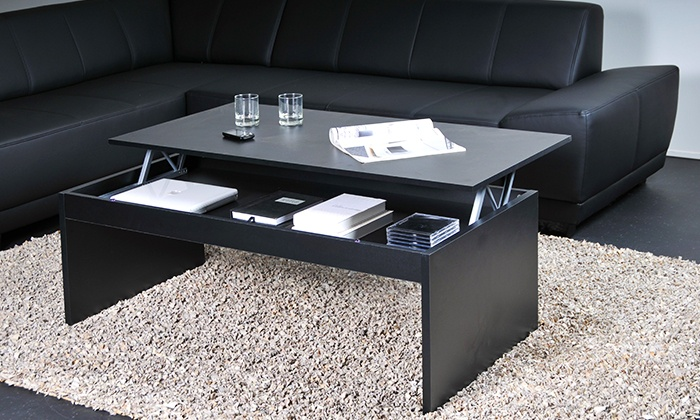 table basse plateau relevable groupon shopping. Black Bedroom Furniture Sets. Home Design Ideas