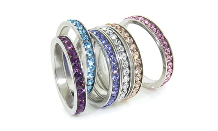 Stackable Bands with Swarovski Elements Crystals in Sterling Silver