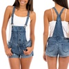 Women's Denim Overall Shorts with Adjustable Straps
