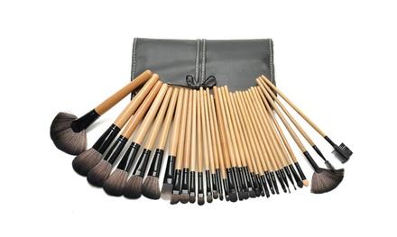 Zoë Ayla Cosmetics 32-Piece Makeup Brush Set with Leather Travel Case