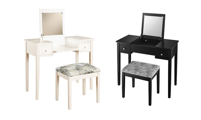 Vanity Set with Fold-Down Mirror | Groupon Goods