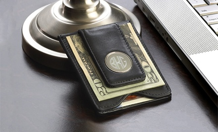 Personalized Black-Leather Money Clip from Monogram Online