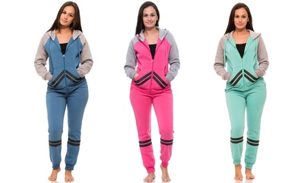 Women's Striped Fleece Hoodie and Sweatpants (2-Piece Set)