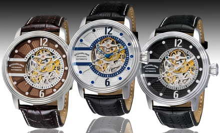 Stührling Original Men's Automatic Skeleton Watch