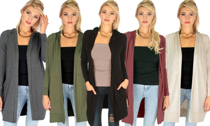 50% Off on Lyss Loo Long Hooded Cardigan | Groupon Goods
