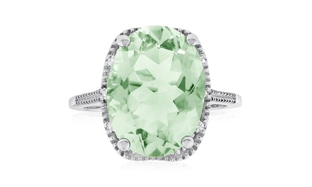 8.00 CTW Oval Shape Green Amethyst and Diamond Ring in Sterling Silver