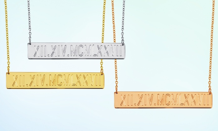 Monogram Online: Personalized Roman Numerals Necklace in Silver or Yellow or Rose Gold over Silver from Monogram Online (Up to 68% Off)