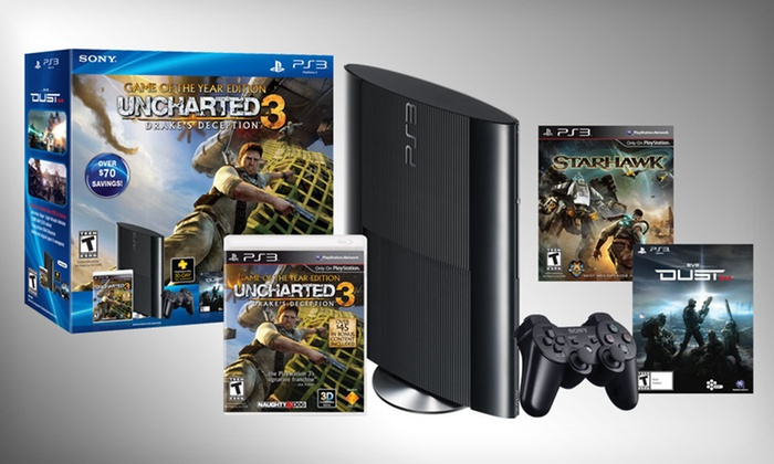"PlayStation 3 System and Game Bundle: $269 for a PlayStation 3 with ""Uncharted 3"" and ""Starhawk"" ($329.98 List Price). Free Shipping and Returns."