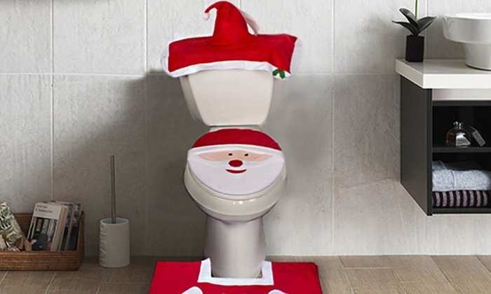 Decorative Christmas Themed Toilet Cover And Mat Set 3 Piece