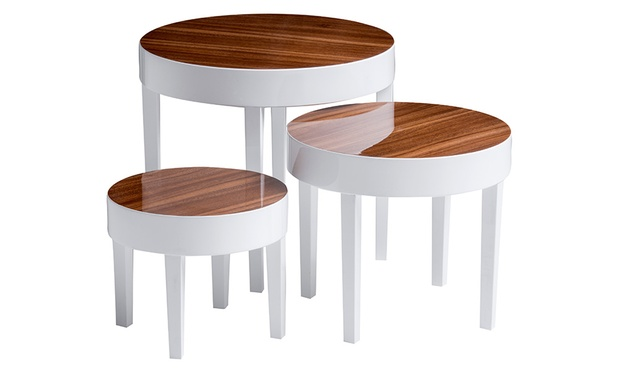 Pear Wood Effect Nest Of Tables Groupon Goods