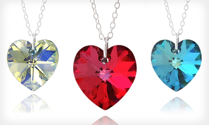 Heart Pendant with Swarovski Elements: $8 for Heart Pendant with Sterling Silver and Swarovski Crystal ($75 List Price). Free Shipping. Three Colors Available.