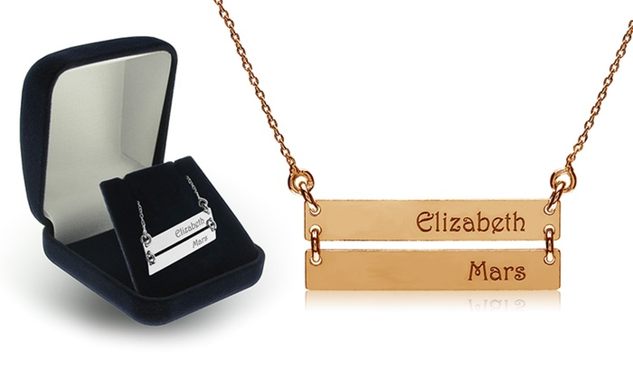 SilvexCraft: One or Two Custom Double Nameplate Bar Pendants from SilvexCraft (Up to 75% Off)
