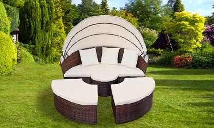 Canapé de jardin en poly rotin avec table en option, 3 couleurs au choix
