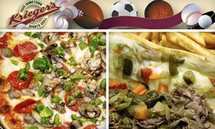 Krieger's Sports Grill - Ballwin: $10 for $20 Worth of Hearty American Fare at Krieger's Sports Grill