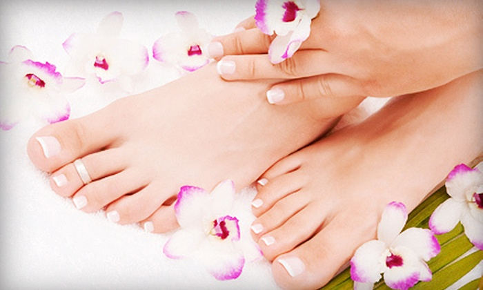 Karma Hair Salon - West Revere: Two Mani-Pedis or One Mani-Pedi with Option for Paraffin Treatment and Hand Massage at Karma Hair Salon (Up to 69% Off)