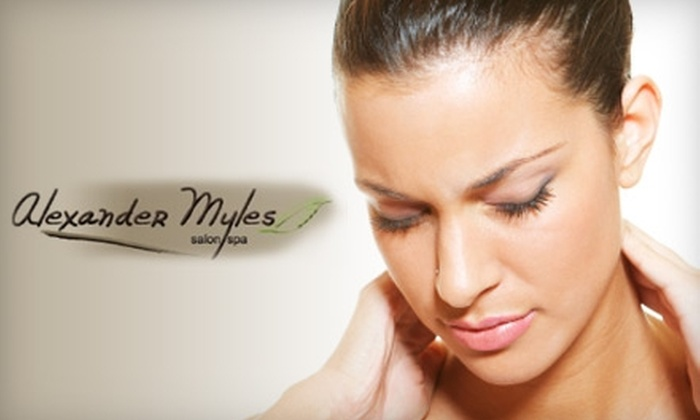 Alexander Myles Salon & Spa - Hilltop: $95 for Three 60-Minute Neck, Back, and Shoulder Massages or One Chocolate Massage and Sugar and Spice Body Polish at Alexander Myles Salon & Spa (Up to $195 Value)