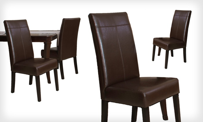 Emilia Faux Leather Dining-Chair Set: $99 for Two Emilia Faux Leather Dining Chairs ($249.99 List Price). Free Shipping and Free Returns.