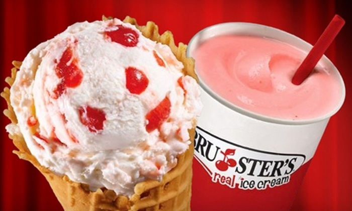 Bruster's Real Ice Cream - Multiple Locations: $5 for $10 Worth of Ice Cream, Shakes, and Frozen Treats at Bruster's Real Ice Cream. Four Locations Available.