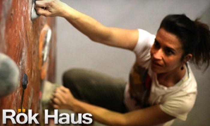 Rök Haus  - Lafayette: $7 for a Rock-Climbing Day Pass, Belay Instruction, and Shoe and Harness Rental at Rök Haus ($15 Value)