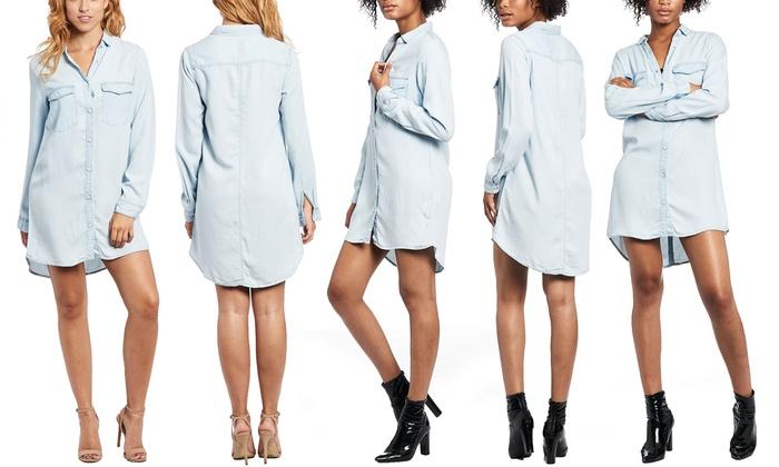 Junior Long-Sleeved Denim Shirt Dress