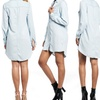 Junior Long-Sleeved Denim Shirt Dress