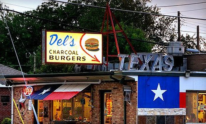 Del's Charcoal Burgers - Richardson: $7 for a Combo Meal for Two at Del's Charcoal Burgers in Richardson ($15 Value)
