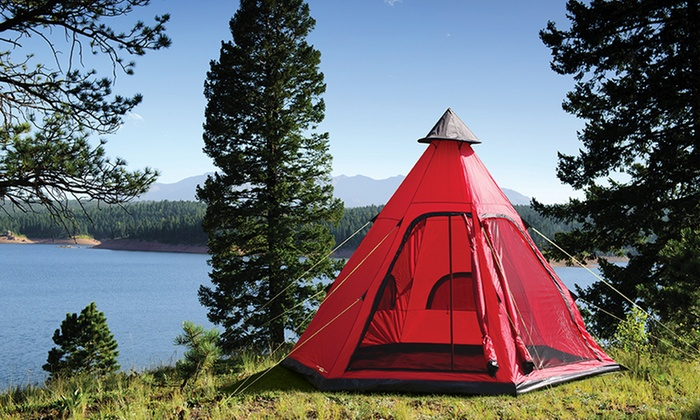 Groupon Goods Global GmbH Yellowstone Four-Person Tipi Tent for £59.99 (40 ... & Yellowstone Festival Tipi Tent | Groupon Goods