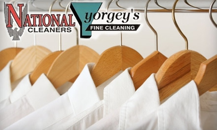 National Cleaners & Yorgey's Fine Cleaning - Multiple Locations: $9 for $20 Worth of Dry-Cleaning Services at National Cleaners & Yorgey's Fine Cleaning