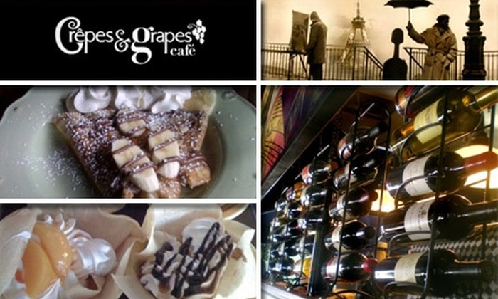 Crepes and Grapes Cafe - Whittier City: $10 for $20 Worth of French Fare and Drinks at Crêpes and Grapes Café