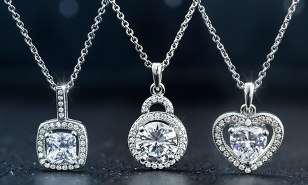 Cubic ZirconiaHalo Necklace in 18K White Gold Plating