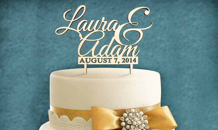 aMonogram Art: Natural or Painted Cake Topper Customized with Couple's Names and Date from aMonogram Art (50% Off)