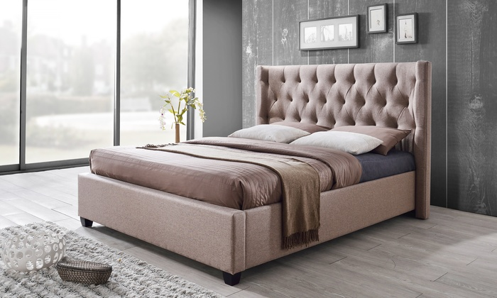 Ordinaire Camille Light Brown French Wingback Platform Bed