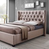 Camille Light-Brown French Wingback Platform Bed