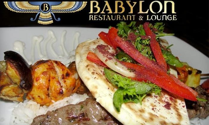Babylon Restaurant - Alyth - Bonnybrook - Manchester: $10 For $20 Worth of Mediterranean and Middle Eastern Cuisine, Drinks, and Hookah at Babylon Restaurant & Lounge