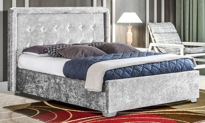 Crushed velvet contero bed frame groupon goods for Bed frame and mattress deals