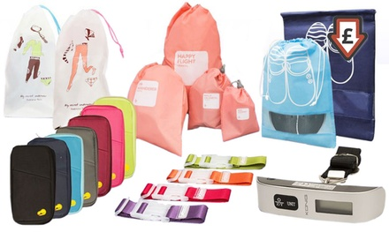 Selection of Travel Accessories: Passport Holders, Luggage Scales, Bag Clips, Shoe Bags, Underwear Bags, Drawstring Bags