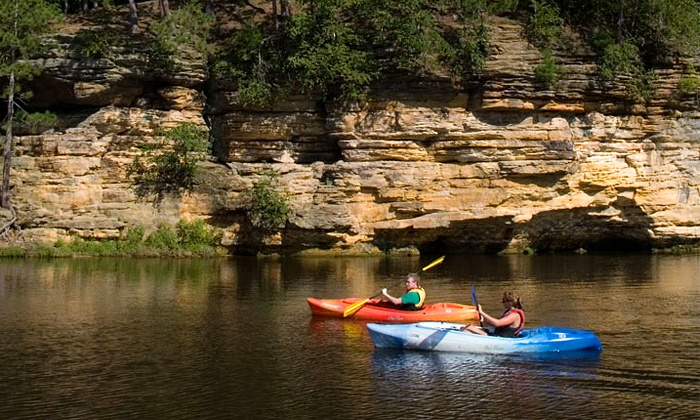 Dells Watersports - Multiple Locations: Half-Day Single-Kayak, Double-Kayak, Canoe, or Standup-Paddleboard Rental at Dells Watersports (Up to 37% Off)