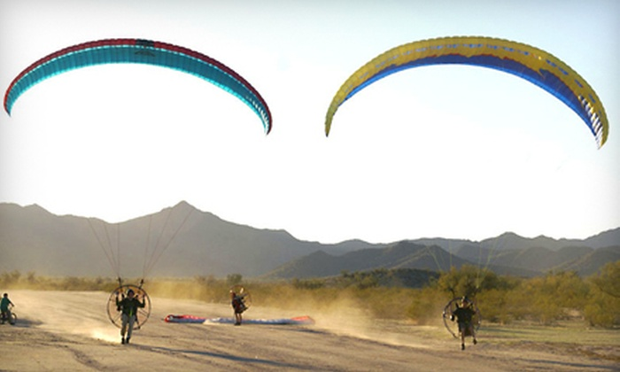 Airparamo - Casa Grande: $95 for a Discovery Flight Powered-Paragliding Package with T-Shirt and Calendar from Airparamo in Maricopa ($160 Value)